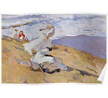 Joaquin Sorolla Y Bastida - Capturing The Moment 1906. Woman portrait: sensual woman, girly art, female style, Sea views, femine, beautiful dress, cute, creativity, love, sea, erotic pose Poster