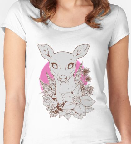 A Deer with Wildflowers Women's Fitted Scoop T-Shirt