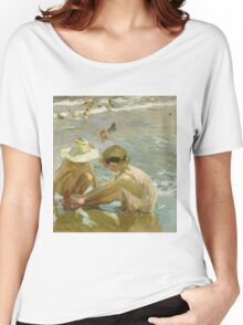 Joaquin Sorolla Y Bastida - The Wounded Foot 1909. Child portrait: cute baby, kid, children, Sea views, child, kids, lovely family, boys and girls, boy and girl, sea, childhood Women's Relaxed Fit T-Shirt