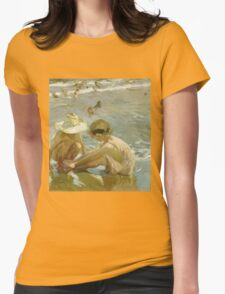 Joaquin Sorolla Y Bastida - The Wounded Foot 1909. Child portrait: cute baby, kid, children, Sea views, child, kids, lovely family, boys and girls, boy and girl, sea, childhood Womens Fitted T-Shirt