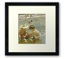 Joaquin Sorolla Y Bastida - The Wounded Foot 1909. Child portrait: cute baby, kid, children, Sea views, child, kids, lovely family, boys and girls, boy and girl, sea, childhood Framed Print