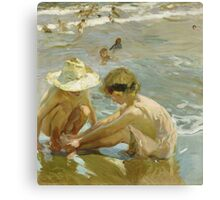 Joaquin Sorolla Y Bastida - The Wounded Foot 1909. Child portrait: cute baby, kid, children, Sea views, child, kids, lovely family, boys and girls, boy and girl, sea, childhood Canvas Print