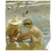 Joaquin Sorolla Y Bastida - The Wounded Foot 1909. Child portrait: cute baby, kid, children, Sea views, child, kids, lovely family, boys and girls, boy and girl, sea, childhood Poster