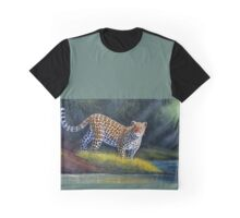 oil paint art designs of Leopard at the river Graphic T-Shirt