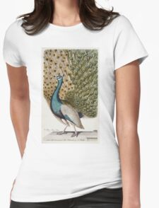 Johann Leonhard Frisch - Male Peacock In Full Display. Bird painting: cute fowl, fly, wings,  peahen, pets, wild life, green peafowl, birds, Peafowl, bird, nature Womens Fitted T-Shirt