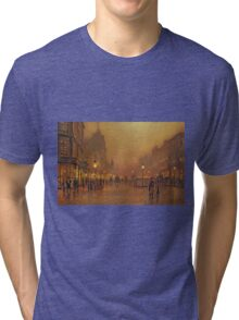 John Atkinson Grimshaw - A Street At Night. Street landscape: city view, streets, building, houses, prospects, cityscape, architecture, roads, travel landmarks, panorama garden, buildings Tri-blend T-Shirt