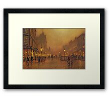 John Atkinson Grimshaw - A Street At Night. Street landscape: city view, streets, building, houses, prospects, cityscape, architecture, roads, travel landmarks, panorama garden, buildings Framed Print