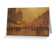 John Atkinson Grimshaw - A Street At Night. Street landscape: city view, streets, building, houses, prospects, cityscape, architecture, roads, travel landmarks, panorama garden, buildings Greeting Card