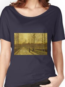 John Atkinson Grimshaw - In The Golden Gloaming. Street landscape: city view, streets, building, houses, prospects, cityscape, architecture, roads, travel landmarks, panorama garden, buildings Women's Relaxed Fit T-Shirt