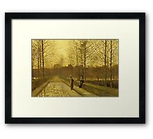 John Atkinson Grimshaw - In The Golden Gloaming. Street landscape: city view, streets, building, houses, prospects, cityscape, architecture, roads, travel landmarks, panorama garden, buildings Framed Print