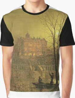 John Atkinson Grimshaw - Under The Moonbeams. Lake landscape: trees, river, land, forest, coast seaside, waves and beach, marine naval navy, lagoon reflection, sun and clouds, nautical panorama, lake Graphic T-Shirt