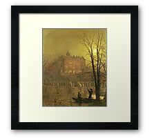 John Atkinson Grimshaw - Under The Moonbeams. Lake landscape: trees, river, land, forest, coast seaside, waves and beach, marine naval navy, lagoon reflection, sun and clouds, nautical panorama, lake Framed Print