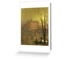 John Atkinson Grimshaw - Under The Moonbeams. Lake landscape: trees, river, land, forest, coast seaside, waves and beach, marine naval navy, lagoon reflection, sun and clouds, nautical panorama, lake Greeting Card