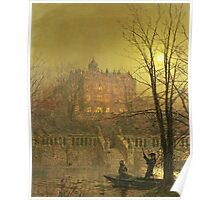 John Atkinson Grimshaw - Under The Moonbeams. Lake landscape: trees, river, land, forest, coast seaside, waves and beach, marine naval navy, lagoon reflection, sun and clouds, nautical panorama, lake Poster