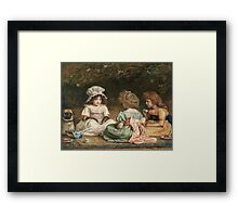 John Everett Millais - Afternoon Tea. Child portrait: cute baby, kid, children, pretty angel, child, kids, lovely family, boys and girls, boy and girl, mom mum mammy mam, childhood Framed Print