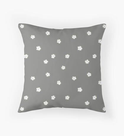 Elderflowers on grey, sparse Throw Pillow