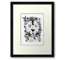 Floral Lion - Fineliner Illustration Framed Print