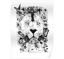 Floral Lion - Fineliner Illustration Poster