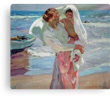 Joaquin Sorolla Y Bastida - After Bathing 1915. Mother with kid portrait: cute girl, mother and daughter, female, Sea views, child, beautiful dress, lovely family, mothers day, memory, sea, baby Canvas Print