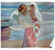 Joaquin Sorolla Y Bastida - After Bathing 1915. Mother with kid portrait: cute girl, mother and daughter, female, Sea views, child, beautiful dress, lovely family, mothers day, memory, sea, baby Poster