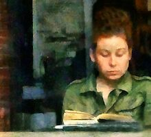 Redhead Reading a Book by RC deWinter