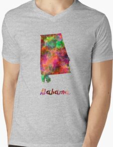 Alabama US state in watercolor Mens V-Neck T-Shirt