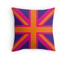 Union Jack Pop Art (Orange, Pink & Purple) Throw Pillow