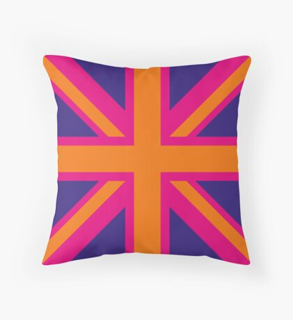 Union Jack Pop Art (Orange, Pink & Purple) Throw Pillow