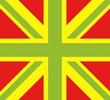 Union Jack Pop Art (Green, Yellow & Red) by sher00
