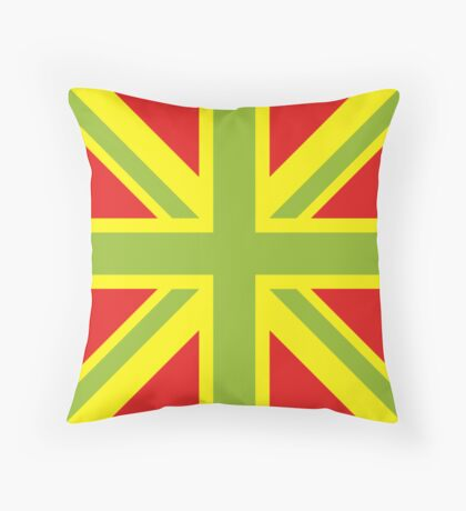 Union Jack Pop Art (Green, Yellow & Red) Throw Pillow