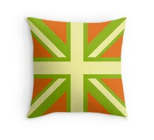 Union Jack Pop Art (Yellow, Green & Brown) Throw Pillow