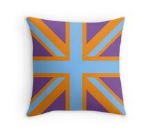 Union Jack Pop Art (Blue, Orange & Purple) Throw Pillow