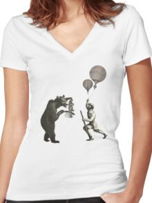 The Magician Bear Women's Fitted V-Neck T-Shirt