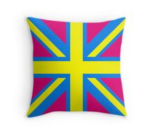 Union Jack Pop Art (Yellow, Blue & Pink) Throw Pillow