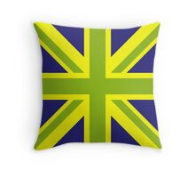 Union Jack Pop Art (Green, Yellow & Blue) Throw Pillow