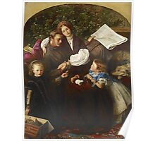 John Everett Millais - Peace Concluded. Family portrait: father and son, mother and daughter, female and male, dad daddy, child baby, beautiful dress, lovely family, mothers day, memory, mom, friends Poster