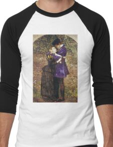 John Everett Millais - The Huguenot. Lovers portrait: sensual woman, woman and man, kiss, kissing lovers, love relations, lovely couple, family, valentine's day, sexy, romance, female and male Men's Baseball ¾ T-Shirt