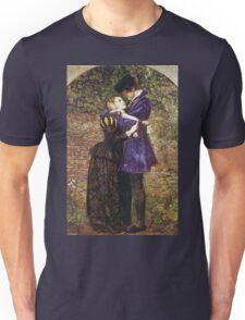 John Everett Millais - The Huguenot. Lovers portrait: sensual woman, woman and man, kiss, kissing lovers, love relations, lovely couple, family, valentine's day, sexy, romance, female and male Unisex T-Shirt