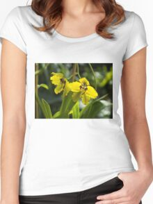 Luminosity in Golden Yellow - Glowing Sunny Orchids Women's Fitted Scoop T-Shirt