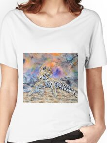 Beautiful designs of a Leopard and a cub oil painting Women's Relaxed Fit T-Shirt