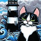 Stormy Waters | Tuxedo Cat & Lighthouse by Lisa Marie Robinson