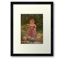John George Brown - Going To The Spring 1865. Female child portrait: cute baby, kid, children, pretty angel, child, kids, lovely family, boys and girls, boy and girl, mom mum mammy mam, childhood Framed Print