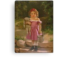 John George Brown - Going To The Spring 1865. Female child portrait: cute baby, kid, children, pretty angel, child, kids, lovely family, boys and girls, boy and girl, mom mum mammy mam, childhood Canvas Print