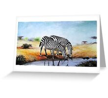 Gifts designed with oil Painting of  Zebras at a water stream Greeting Card