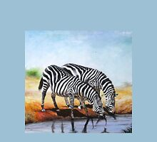 Gifts designed with oil Painting of  Zebras at a water stream Unisex T-Shirt