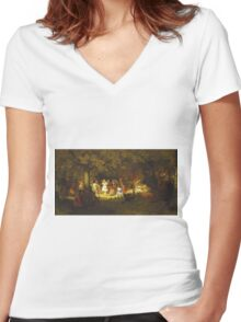 John George Brown - Picnic Party In The Woods. Female child portrait: cute baby, kid, children, pretty angel, child, kids, lovely family, boys and girls, boy and girl, mom mum mammy mam, childhood Women's Fitted V-Neck T-Shirt