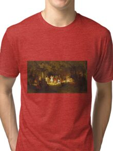 John George Brown - Picnic Party In The Woods. Female child portrait: cute baby, kid, children, pretty angel, child, kids, lovely family, boys and girls, boy and girl, mom mum mammy mam, childhood Tri-blend T-Shirt