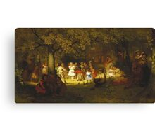John George Brown - Picnic Party In The Woods. Female child portrait: cute baby, kid, children, pretty angel, child, kids, lovely family, boys and girls, boy and girl, mom mum mammy mam, childhood Canvas Print