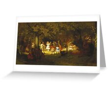 John George Brown - Picnic Party In The Woods. Female child portrait: cute baby, kid, children, pretty angel, child, kids, lovely family, boys and girls, boy and girl, mom mum mammy mam, childhood Greeting Card