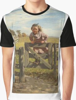 John George Brown - Swinging On A Gate. Female child portrait: cute girl, girly, female, pretty angel, child, beautiful dress, face with hairs, smile, little, kids, baby Graphic T-Shirt